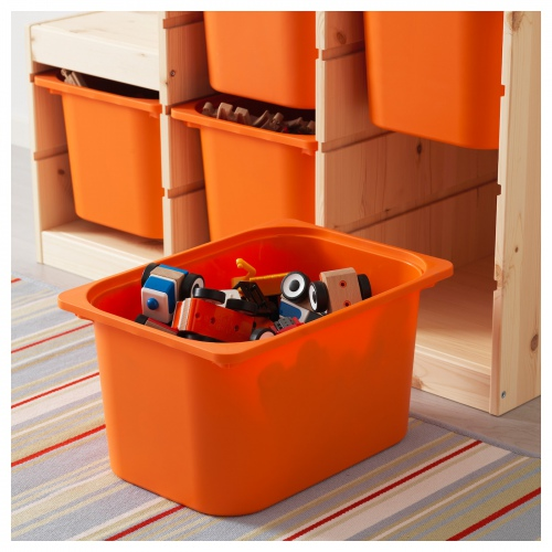 ТРУФАСТ Комбинация д/хранения, светлая беленая сосна, оранжевый, 94x44x91 см