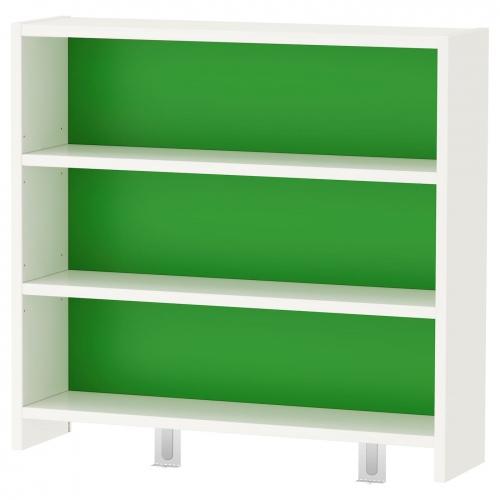 ПОЛЬ Письменн стол с полками, белый, синий, 128x58 см