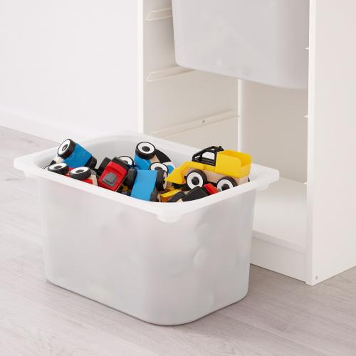 ТРУФАСТ Комбинация д/хранения+контейнеры, белый, бирюзовый, 46x30x94 см
