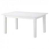 СТУРНЭС Раздвижной стол, белый, 147/204x95 см