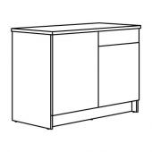 КНОКСХУЛЬТ Напольный шкаф с дверцами и ящиком, глянцевый белый, 120 см