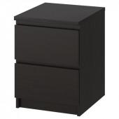 МАЛЬМ Комод с 2 ящиками, черно-коричневый, 40x55 см