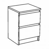 МАЛЬМ Комод с 2 ящиками, белый, 40x55 см