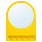 САЛТРЁД Зеркало с полкой и крючками, желтый, 50x68 см