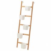 САТСУМАС Подставка с 5 кашпо, бамбук, белый, 125 см