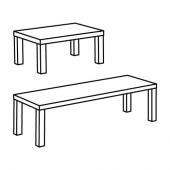 ЛАКК Комплект столов, 2 шт, черный, белый