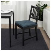 ЮСТИНА Подушка на стул, темно-синий, в полоску, 35/42x40x4.0 см
