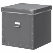 ФЬЕЛЛА Коробка с крышкой, темно-серый, 30x31x30 см