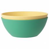 ХЭРОИСК Миска, зеленый, желтый, 14 см