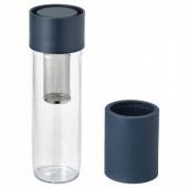 ЭФТРЕСТРЭВА Дорожная кружка, прозрачное стекло, силикон, 0.5 л