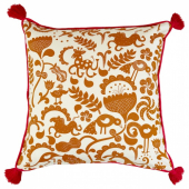 УРСПРУНГЛИГ Чехол на подушку, белый, золотисто-коричневый, 50x50 см