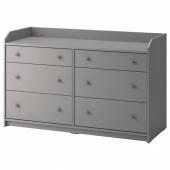 ХАУГА Комод с 6 ящиками, серый, 138x84 см