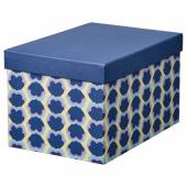 ТЬЕНА Коробка с крышкой, синий, с рисунком, 18x25x15 см