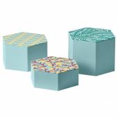 ЛАНКМОЙ Декоративная коробочка, 3 предм., голубой, с рисунком