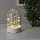 ФОРТЙЮСНИНГ Декоративная подсветка, светодиоды, с батарейным питанием, клош белый, 18 см