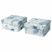 ВИНТЕР 2020 Подарочная коробка, орнамент «зимняя деревня» сине-серый, 20x20x10 см