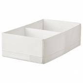 СТУК Ящик с отделениями, белый, 20x34x10 см