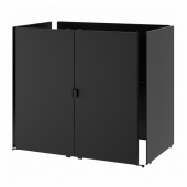 ГРИЛЛЬСКЭР Дверь/боковые панели/спинка, черный, нержавеющ сталь для сада, 86x61 см