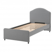 ХАУГА Каркас кровати с обивкой, Висле серый, 90x200 см
