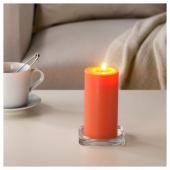 СИНЛИГ Формовая свеча, ароматическая, Персик и апельсин, оранжевый, 14 см