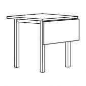 НОРДВИКЕН Стол с откидной полой, черный, 74/104x74 см