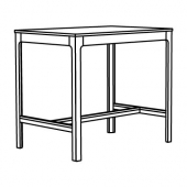 ЭКЕДАЛЕН Барный стол, белый, 120x80 см