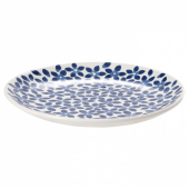 МЕДЛЕМ Тарелка десертная, белый/синий, с рисунком, 22 см