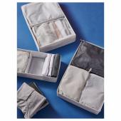 РЕНСАРЕ Сумка для одежды, 3 шт., клетчатый орнамент, серый черный