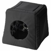 ЛУРВИГ Кроватка/домик д/кошки, черный, 38x38x37 см