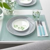 СТИЛЕНЛИГ Тарелка десертная, орнамент «листья» белый, зеленый, 17 см