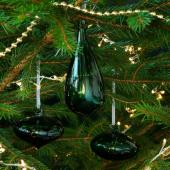 ВИНТЕР 2020 Декоративный шарик, 3 шт., различные формы, стекло зеленый