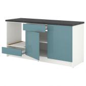 КНОКСХУЛЬТ Напольный шкаф с дверцами и ящиком, глянцевый, синяя бирюза, 180 см