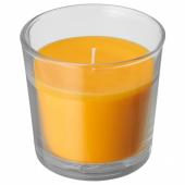 СИНЛИГ Ароматическая свеча в стакане, Манго, желтый, 9 см