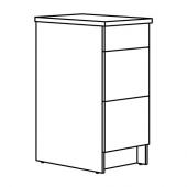 КНОКСХУЛЬТ Напольный шкаф с ящиками, глянцевый белый, 40 см