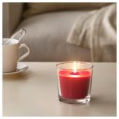 СИНЛИГ Ароматическая свеча в стакане, Красные садовые ягоды, красный, 9 см