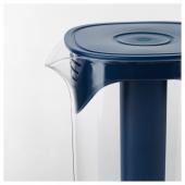 МОППА Кувшин с крышкой, темно-синий, прозрачный, 1.7 л