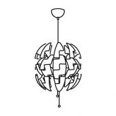 ИКЕА ПС 2014 Подвесной светильник, белый, серебристый, 52 см