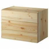 ИВАР Комод с 3 ящиками, сосна, 80x57 см