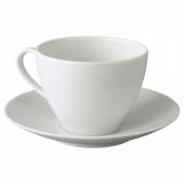 ВЭРДЕРА Чашка чайная с блюдцем, белый, 36 сл