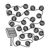 СОЛАРВЕТ Гирлянда, 24 светодиода, для сада на солнечной батарее, шар белый