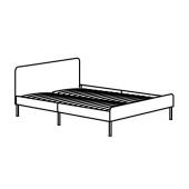 СЛАТТУМ Каркас кровати с обивкой, Книса светло-серый, 160x200 см