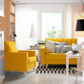АСКЕСТА 3-местный диван-кровать, Шифтебу желтый