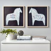 ХОВСТА Рама с постером, Расписные лошадки, 40x40 см