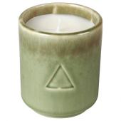 ОСИНЛИГ Ароматическая свеча в стакане, Цветок хлопчатника и яблоневый цвет, зеленый коричневый, 7 см