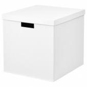ТЬЕНА Коробка с крышкой, белый, 32x35x32 см