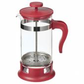 УПХЕТТА Кофе-пресс/заварочный чайник, стекло, красный, 1 л