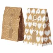 ВИНТЕР 2020 Подарочный пакет, орнамент «имбирное печенье», орнамент «точки» коричневый, 20x26 см/2.5 л