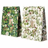 ВИНТЕР 2020 Подарочный пакет, орнамент «рождественская роза» зеленый, 33x42 см/9 л