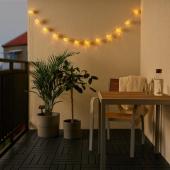 СОЛВИДЕН Гирлянда, 12 светодиодов, оранжевый синий, для сада на солнечной батарее