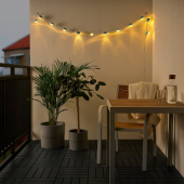 СОЛВИДЕН Гирлянда, 12 светодиодов, с батарейным питанием для сада, мини-фара синий